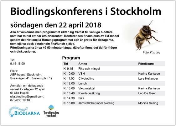 Biodlarkonferens Stockholm 22 april 2018